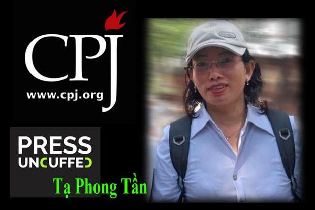 """Ngày 25 tháng 3 năm 2015 tổ chức Bảo Vệ Ký Giả Quốc Tế (CPJ) mở chiến dịch """"Tháo còng báo chí"""" (Press Uncuffed ), Tạ Phong Tần được nêu tên trong danh sách 9 người trên khắp thế giới"""