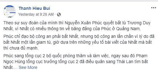 Dòng trạng thái trên Facebook của blogger Bùi Thanh Hiếu về blogger Trương Duy Nhất