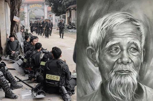 Hình minh họa. Cảnh sát cơ động ở Đồng Tâm hôm 9/1/2020 và cụ Lê Đình Kinh (hình phải)