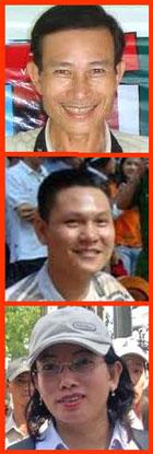 Từ trên xuống blogger Điếu Cày, Anh ba Sài Gòn và chị Tạ Phong Tần.