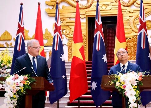 Thủ tướng Australia Scott Morrison và Thủ tướng Nguyễn Xuân Phúc họp báo ở Hà Nội hôm 22/8/2019