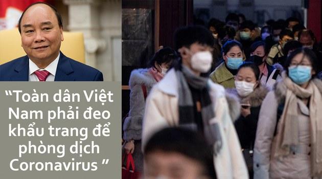 Thủ tướng Nguyễn Xuân Phúc thông báo có thể toàn dân VN phải đeo khẩu trang để phòng dịch nCoV (hình minh họa)