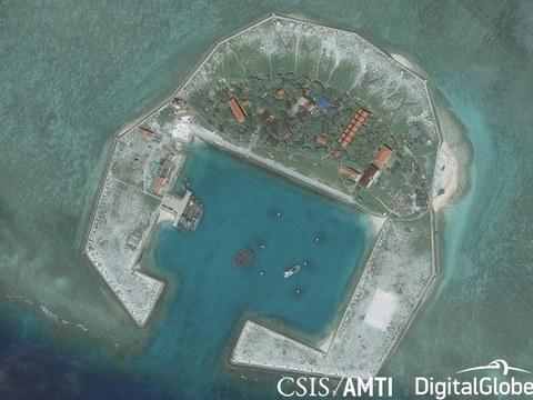 Hình ảnh vệ tinh Đảo Sinh Tồn do Việt Nam chiếm đóng tại Trường Sa