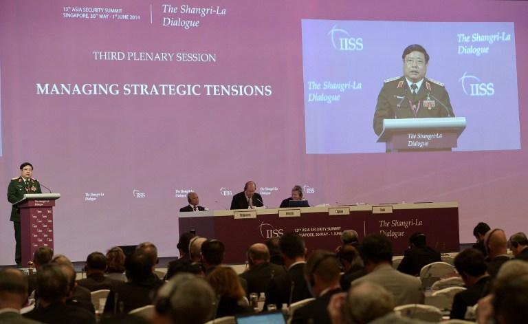 Bộ trưởng quốc phòng Việt Nam, tướng Phùng Quang Thanh phát biểu tại diễn đàn Đối thoại Shangri-la hôm nay 31/5/2014.