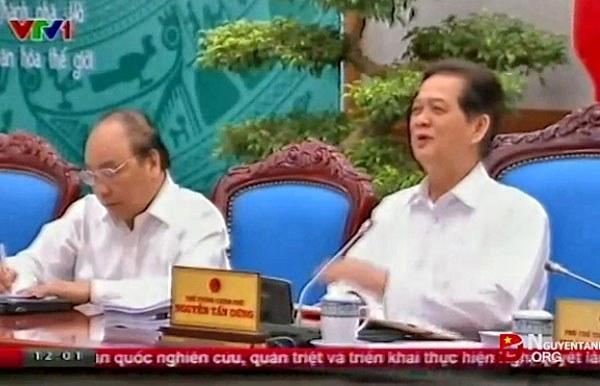 Thủ tướng Nguyễn Tấn Dũng  tại phiên họp thường kỳ tháng Sáu nhằm đánh giá tình hình kinh tế - xã hội, an ninh quốc phòng, đối ngoại trong 6 tháng đầu năm