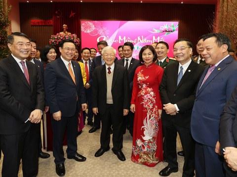 Hình minh hoạ. Tổng bí thư kiêm Chủ tịch nước Nguyễn Phú Trọng chúc Tết Đảng bộ TP Hà Nội hôm 12/2/2021 tức 30 Tết