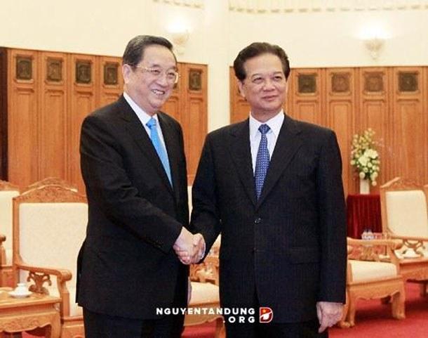Thủ tướng Nguyễn Tấn Dũng tiếp ông Du Chính Thanh Chủ tịch Chính Hiệp Trung ương Trung Quốc