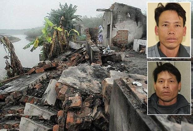 Ngôi nhà của anh em ông Đoàn Văn Vươn và bà Đoàn Văn Quý không nằm trong khu vực cưỡng chế cũng bị đập phá tan hoang. Hai anh Đoàn Văn Vương (hình trên) và Đoàn Văn Quý.