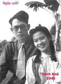 Nữ ca sĩ Thái Hằng và nhạc sĩ Phạm Duy trong ngày cưới tại Thanh Hóa năm 1949. Photo courtesy of Phạm Duy 2010.
