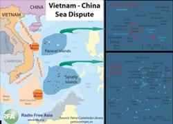 Khu vự lãnh hải tranh chấp giữa Việt Nam và Trung Quốc. RFA photo.